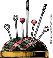 Vector hand drawn illustration of pincushion in vintage engraved style. isolated on white background. Side view.