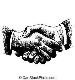 hand drawn illustration of shaking hands