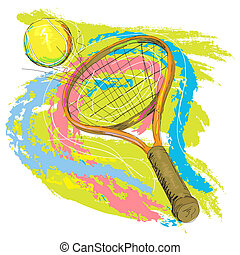 hand drawn illustration of tennis racket and ball, created as very artistic painterly style for your design, isolated on white