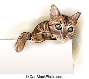 hand drawn illustration of the cat with banner. Watercolor...