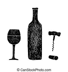wine bottle and glass of wine - Hand-drawn illustration of...