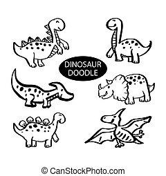 Hand drawn illustrations set of Dinosaur.