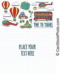 Hand drawn images Travel and transportation