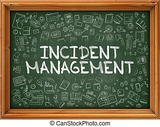 Hand Drawn Incident Management on Green Chalkboard. Hand...