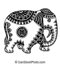 Hand drawn Indian elephant.