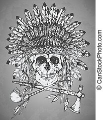 Hand drawn vector illustration of Native American Indian headdress with human skull; tomahawk and calumet in sketch style. Traditional tribal chief feather hat and skull