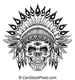 Indian style skull - hand drawn Indian style skull in...