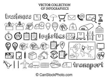 Hand Drawn Infographic Logistic Elements Set