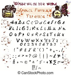 Hand drawn ink  ABC upper , lower case letters and glyphs set doodle comic font for your design.eps