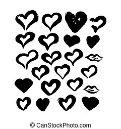 Hand Drawn Ink Brush Hearts