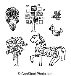 Hand drawn ink doodle fairy tale animals isolated