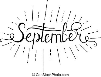 Hand drawn ink lettering Hello September isolated black on white background. Vector calligraphy for advertising.