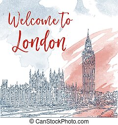 Hand drawn ink line sketch of London. Watercolor background
