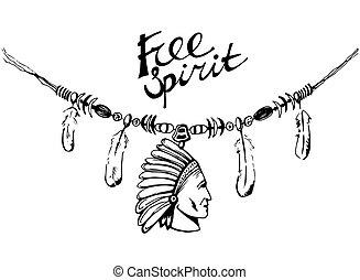 Hand drawn ink necklace, boho style, free spirit