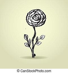 Hand drawn ink rose flower on grunge beige background.