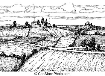 Hand drawn ink sketch rural landscape.