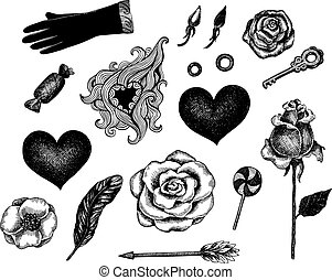 Hand drawn ink style Valentine's Day symbols. Romantic...