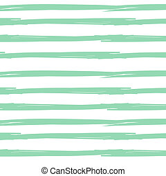 Hand drawn ink textured seamless striped background. White and mint colors vector vintage background.