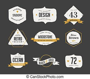 hand drawn, inked hipster vintage retro labels and logo -...