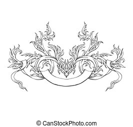 Hand drawn intage frame, vector pattern