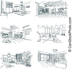 hand drawn interiors
