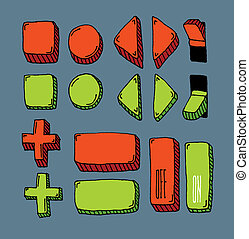 Hand drawn internet button set (color)