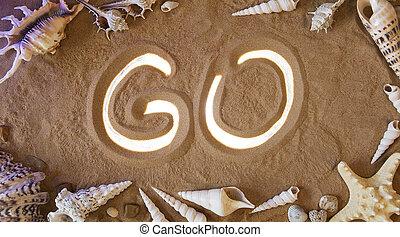 hand-drawn, ir, símbolo, em, a, sand., praia, experiência., vista superior