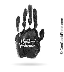 Hand drawn isolated black watercolor hand print. 10 eps