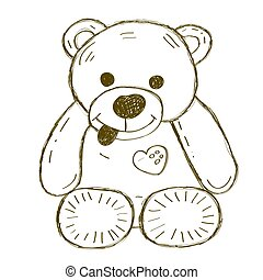 Hand drawn isolated Teddy bear.