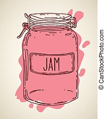 Hand drawn jam jar - Hand drawn illustration with vintage ...