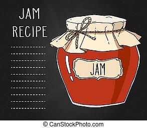 Hand drawn jam jar recipe template