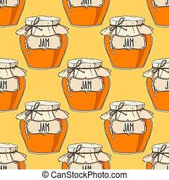 Hand drawn jam jars seamless pattern