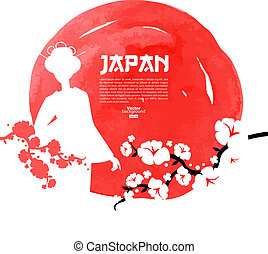 Hand drawn Japanese cherry illustration. Sketch and...