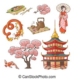 Hand drawn Japanese culture elements, symbols