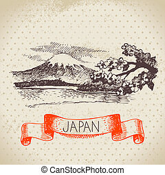 Hand drawn Japanese illustration. Sketch and watercolor...