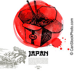 Hand drawn Japanese sushi illustration. Sketch and ...
