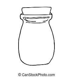 Hand drawn jar. Contour sketch. Kitchen objects doodle style. Vector illustration isolated on white background. Alchemy and vintage.
