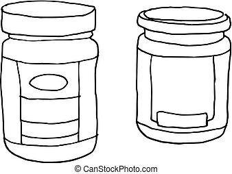 hand drawn jar glass (vector) - illustration of two jar...