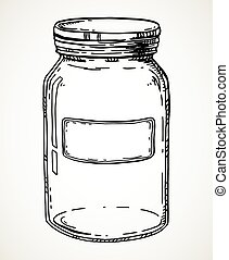 Hand drawn jar - Jar with blank label. Vector hand drawn ...