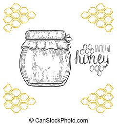 Hand drawn jar of honey over white background