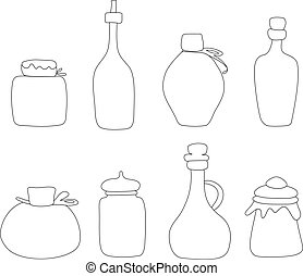 Hand drawn Jar vector set. Sketched jars and bottles isolated on white background