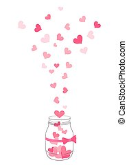 hand drawn jar with flying hearts. vector