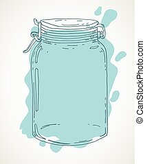 Hand drawn jar with water