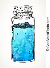 Hand drawn jar with waves