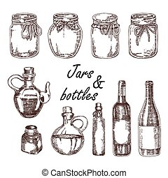 Hand drawn jars and bottles. Vector illustration in sketch style. Vintage bottles for wine and olive oil