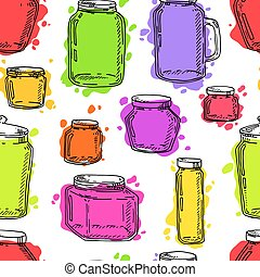 Hand drawn jars seamless pattern