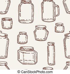 Hand drawn jars seamless pattern