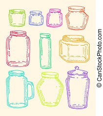Hand drawn jars set