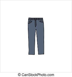 Hand drawn jeans Isolated on a white background. Vector illustration