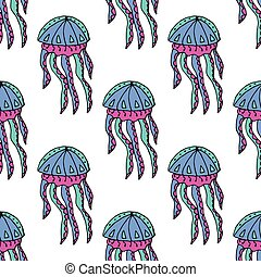 Hand drawn jellyfish. Vector illustration. Sea collection. Summer time